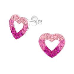 Hopeiset korvanapit, Pink Ombre Hearts -vaaleanpunaiset sydämet