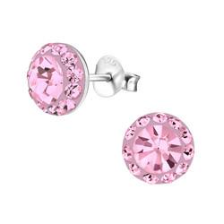 Hopeiset korvanapit, Pink Round Crystals -vaaleanpunaiset hopeanapit