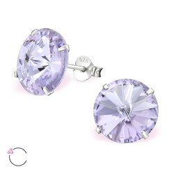 Hopeiset korvanapit, LA CRYSTALE|Lilac XL Round Crystals