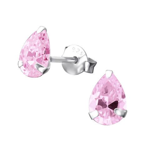 Hopeiset korvanapit, Pink Teardrop Earrings with CZ