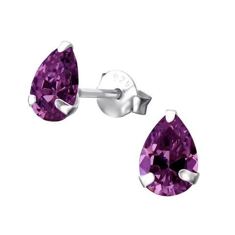 Hopeiset korvanapit, Purple Teardrop Earrings with CZ
