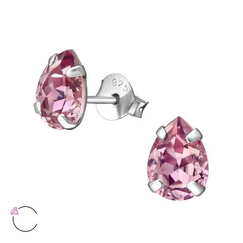 Hopeiset korvanapit, LA CRYSTALE|Soft Lilac Teardrop Earrings