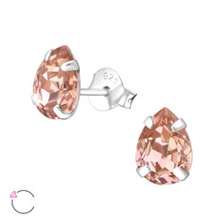 Hopeiset korvanapit, LA CRYSTALE|Blush Rose Teardrop Earrings