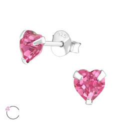 Hopeiset korvanapit, LA CRYSTALE|Rose Pink Heart Earrings