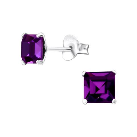 Hopeiset korvanapit, Purple Square Earrings