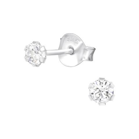 Hopeiset korvanapit, Basic Round 3mm Crystal -kimallusnapit