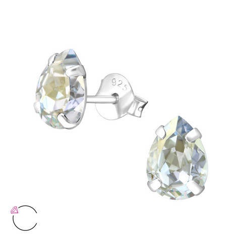 Hopeiset korvanapit, LA CRYSTALE|Blue Shade Teardrop Earrings