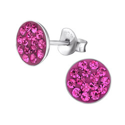 Hopeiset korvanapit, Round Fuchsia Earstuds with Small Stones
