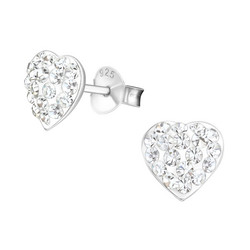 Hopeiset korvanapit, Heart Earstuds with Small Stones