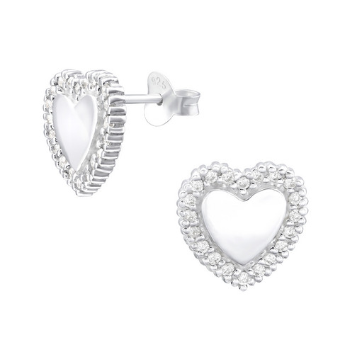 Hopeiset korvanapit, Gorgeous Heart Earstuds with CZ