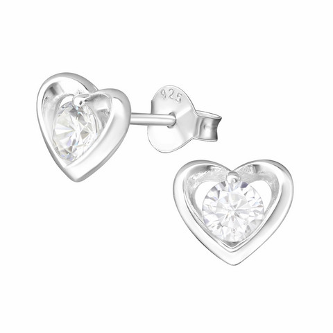 Hopeiset korvanapit, Classic Heart Earstuds with CZ