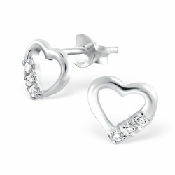 Hopeiset korvanapit, Pretty Heart Earstuds with CZ