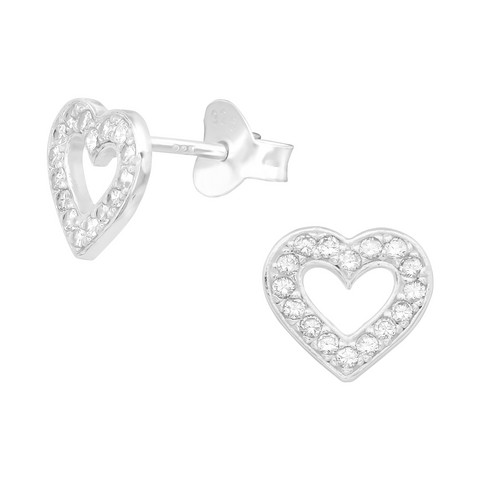Hopeiset korvanapit, Beautiful Heart Earstuds with CZ