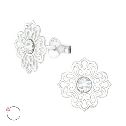 Hopeiset korvanapit, LA CRYSTALE|Lovely Lace Earrings