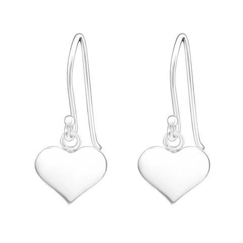 Hopeiset korvakorut, Simple Heart Earrings