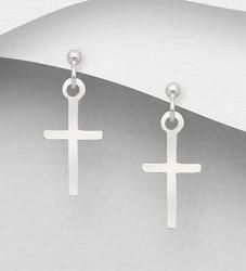 Hopeiset korvakorut, Small Cross Earrings -ristikorvakorut