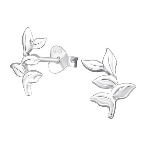 Hopeiset korvanapit, Pretty Leaf Earstuds -lehtikorvakorut