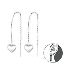 Hopeiset ketjukorvakorut, Silver Heart -sydänkorvakorut