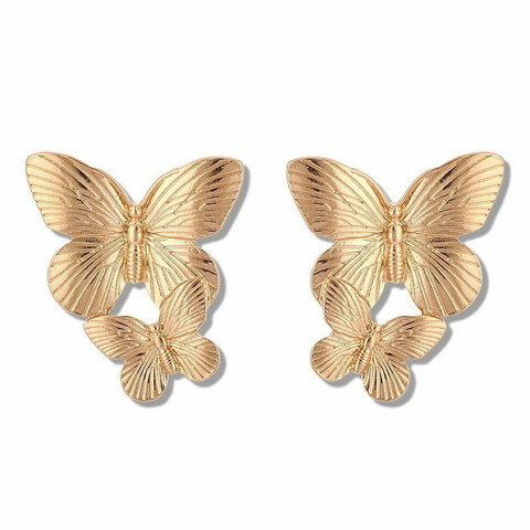 Korvakorut, FRENCH RIVIERA|Medium Gold Butterflies -perhoskorvakorut