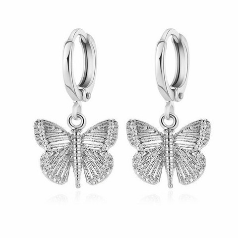 Korvakorut, PAPARAZZI|Silver Butterfly Huggie Hoops