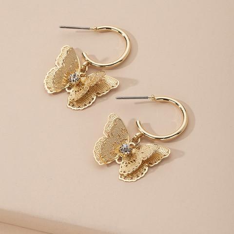 Korvakorut, FRENCH RIVIERA Oriental Butterfly Hoops in Gold