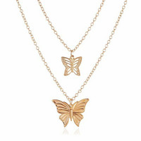 Kerroskaulakoru, FRENCH RIVIERA|Holiday Butterfly Necklace in Gold