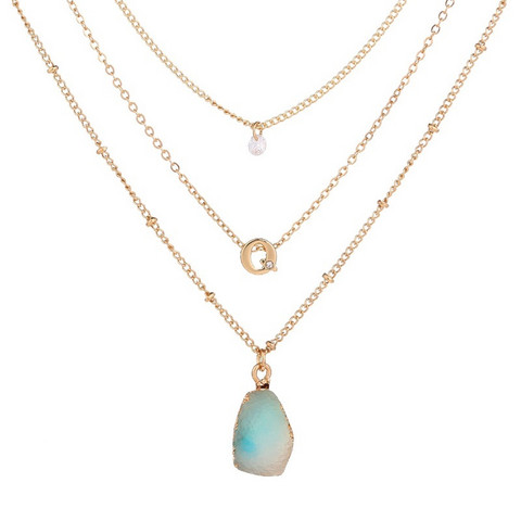 Kerroskaulakoru, FRENCH RIVIERA|Layer Necklace in Gold with Turqoise