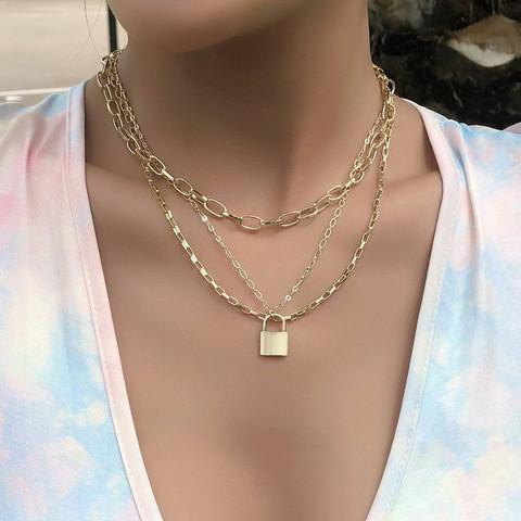 Kerroskaulakoru, FRENCH RIVIERA|Layer Necklace in Gold with Lock