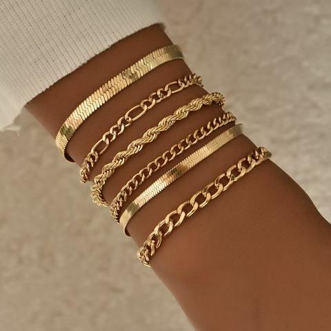 Rannekorusetti, FRENCH RIVIERA|Simple Gold Bracelet Set