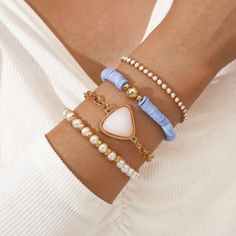 Rannekorusetti, FRENCH RIVIERA|Boho Blue and Gold Bracelet Set