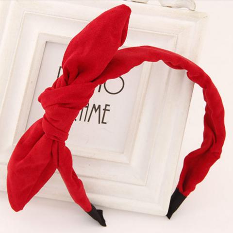 Hiuspanta SUGAR SUGAR, Red Bow in Suede -punainen hiuspanta
