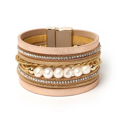Rannekoru, FRENCH RIVIERA|Wide Boho Pearl Bracelet in Gold
