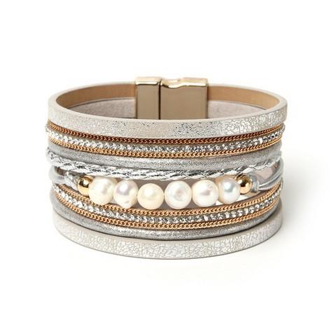 Rannekoru, FRENCH RIVIERA|Wide Boho Pearl Bracelet in Silver