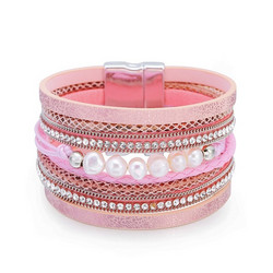Rannekoru, FRENCH RIVIERA|Wide Boho Pearl Bracelet in Pink