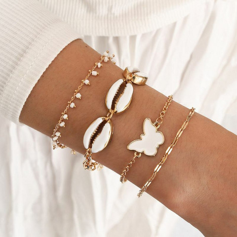 Rannekorusetti, FRENCH RIVIERA  Summer Chain Bracelets in Gold