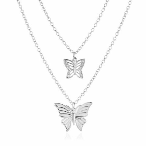 Kerroskaulakoru, FRENCH RIVIERA Holiday Butterfly Necklace in Silver