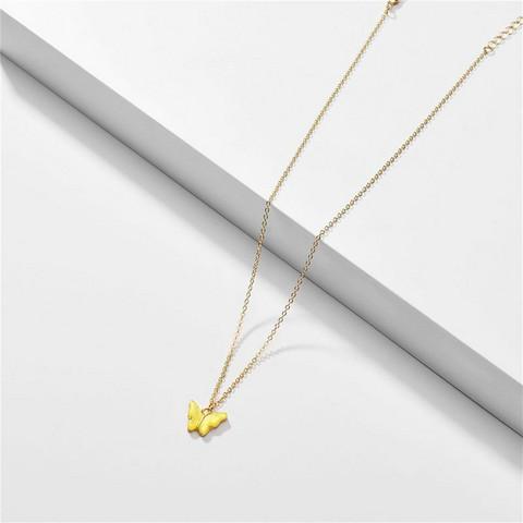Kaulakoru, FRENCH RIVIERA Small Shimmery Butterfly Necklace in Yellow
