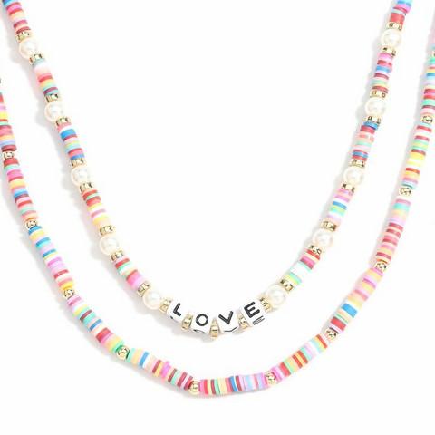 Kaulakorusetti, PAPARAZZI Colourful Surf Necklace with Love Text