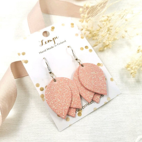 LEMPI-korvakorut, Tulppaani (vaaleanpunainen glitter)
