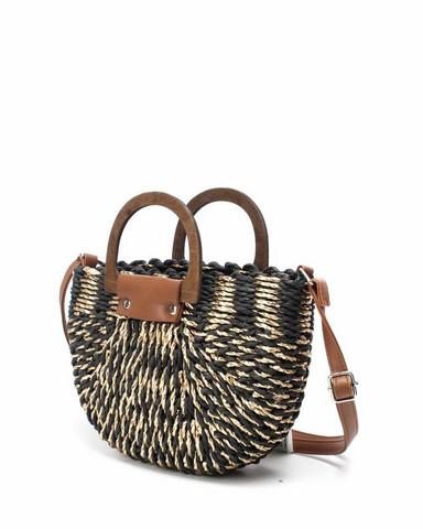 Laukku, BESTINI Paris|Straw Handbag in Black and Gold