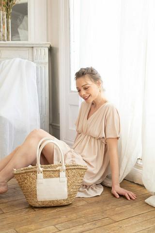 Laukku, BESTINI Paris|Summer Straw Bag with White Details