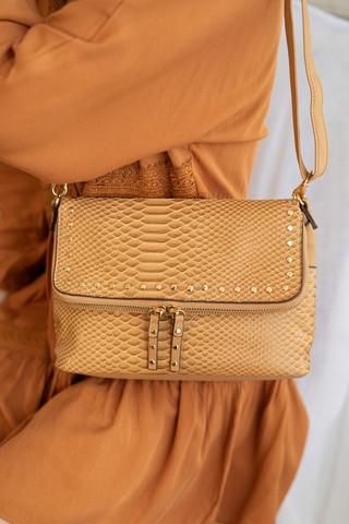 Laukku, BESTINI Paris Small Handbag in Brown with Gold Details