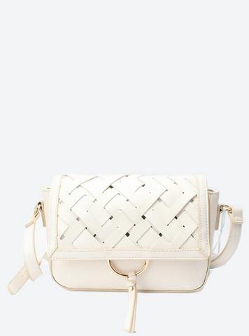Laukku, BESTINI Paris|Handbag in White with Braided Decoration