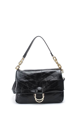 Laukku, BESTINI Paris|Large Handbag in Black with Gold Buckle
