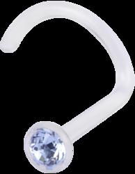 Nenäkoru, nenänappi Bioplast® Nosestud with Light Blue Crystal