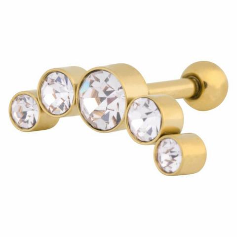 Rustokoru/traguskoru, Steel Zirconline® Jewelled Curve Barbell in Gold