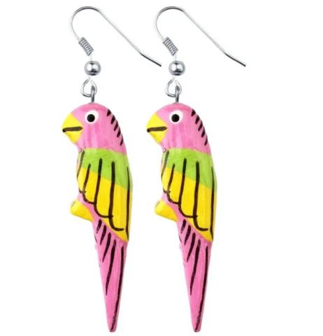 Puiset korvakorut, Papukaija (vaaleanpunainen, vihreä ja keltainen)