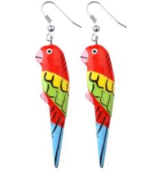 Puiset korvakorut, Papukaija (punainen, sininen pyrstö)