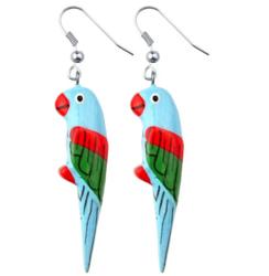 Puiset korvakorut, Papukaija (vaaleansininen, punainen-vihreä)
