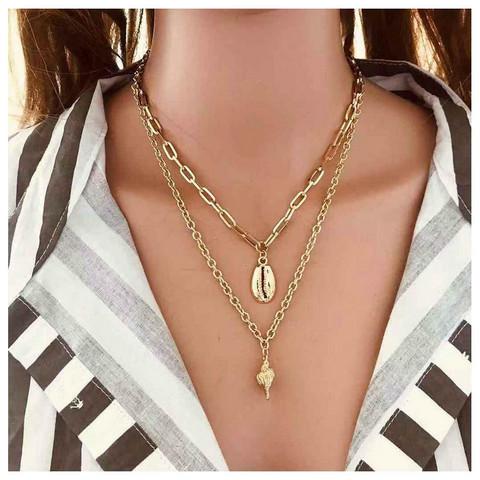 Kerroskaulakoru, FRENCH RIVIERA Two Layer Seashell Necklace in Gold